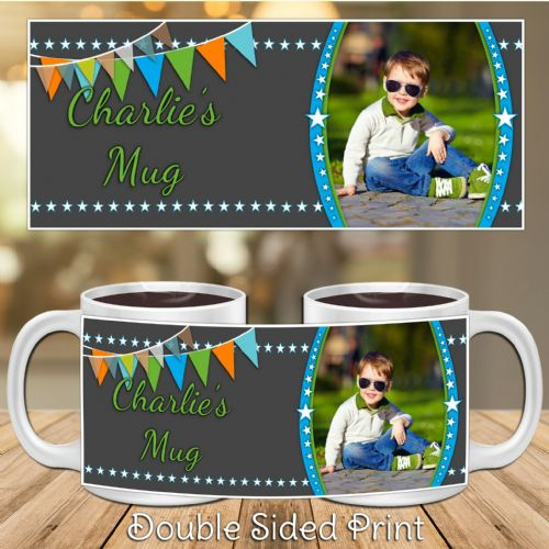 Personalised Boys Happy Birthday PHOTO Mug N44 Stars & Bunting